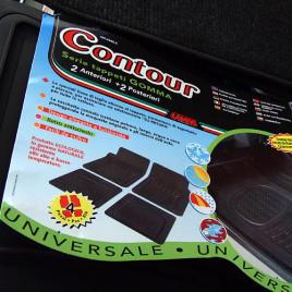 """tappeti di gomma 100% 4 pezzi universali """"contour"""""""